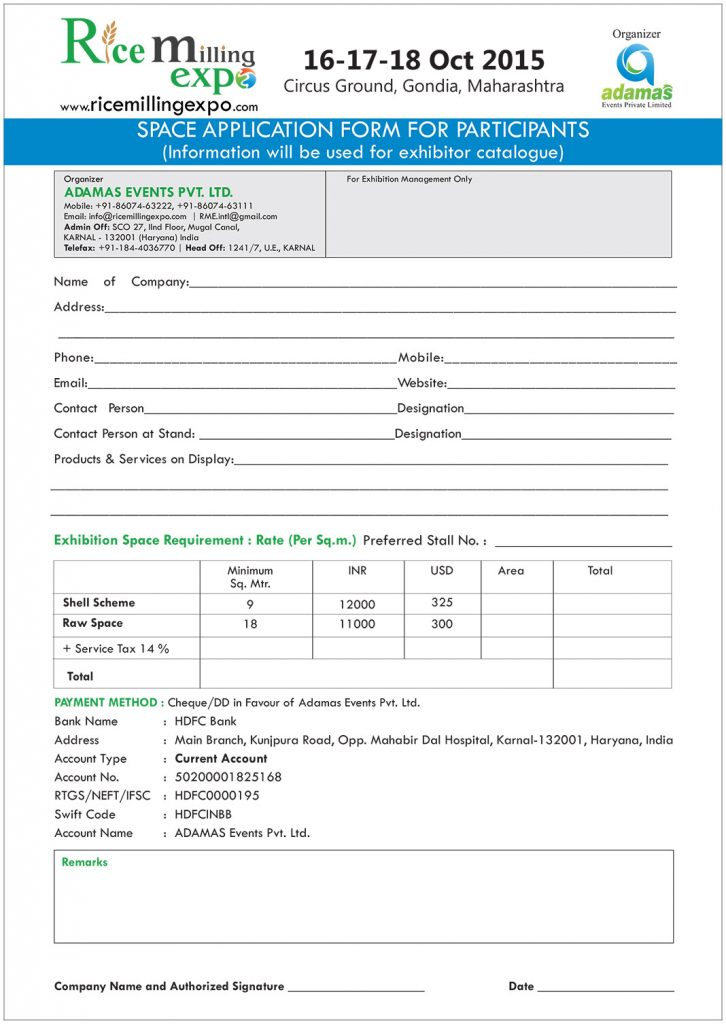 Download Registration Form – Rice Milling Expo, Karnal